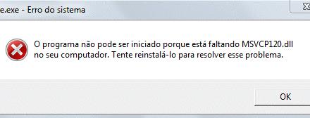 Erro ao iniciar core.exe – Faltando MSVCP120.DLL