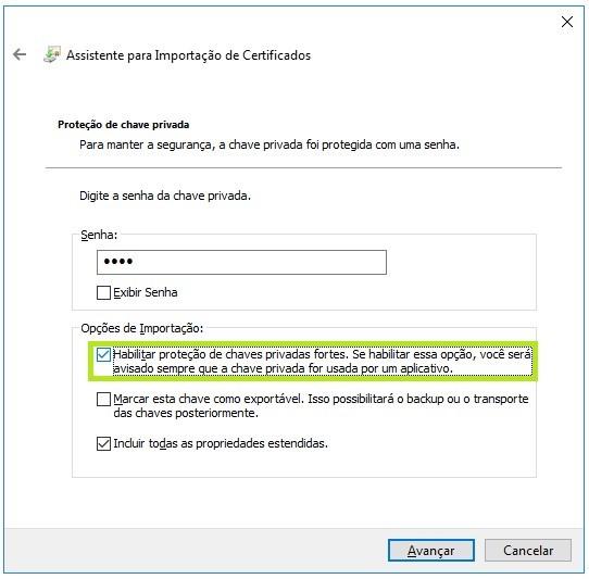 mensagem de alerta certificado digital credencial necessária
