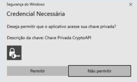 Mensagem de alerta: Credencial necessária ao usar certificado digital