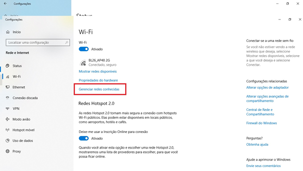 esquecer rede wi-fi windows 10