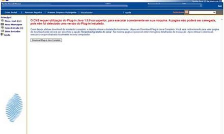 Erro: O CNS requer utilização do Plug-in Java 1.5.0 ou superior