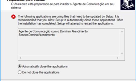 """Erro do sistema Domínio: """"Existe uma nova versão do Agente de Comunicação…""""."""