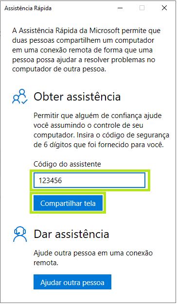Assistência Rápida Windows como usar