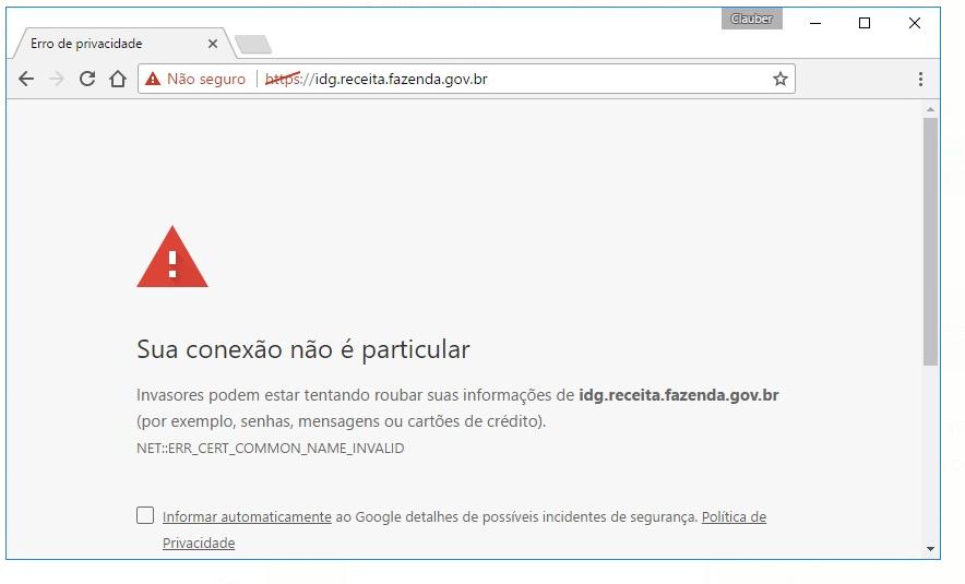 Erro NET:ERR_CERT_COMMON_NAME_INVALID ao tentar abrir uma página