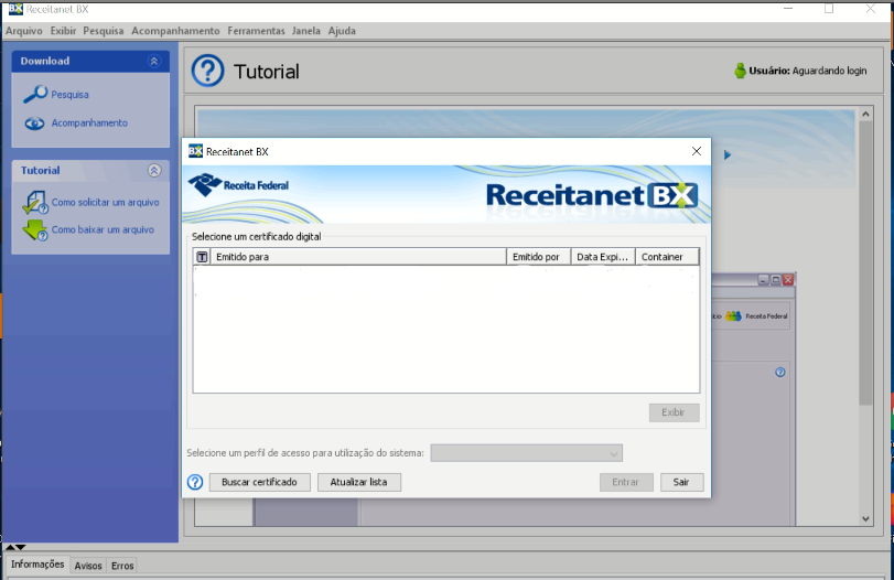 Programa Receitanet BX não está listando os certificados digitais