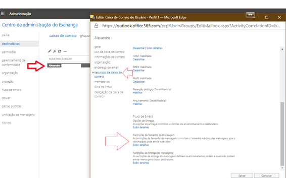 Como limitar ou aumentar o tamanho do anexo no Office 365