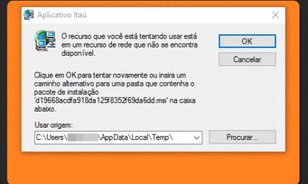 Erro ao instalar o Aplicativo do Itaú