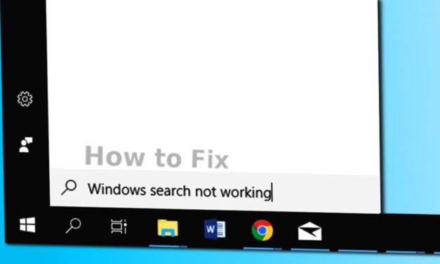 Pesquisa no Windows 10 Não Funciona