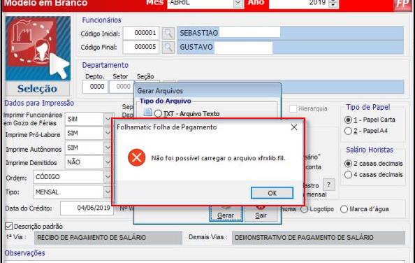 Erro: Não foi possível carregar o arquivo xfrxlib.fil – Sage Fiscal
