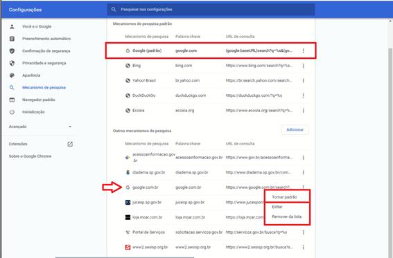 como alterar o mecanismo de pesquisa do Chrome