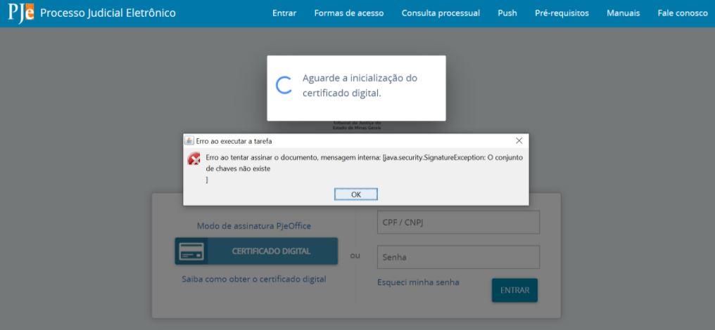Erro: O conjunto de chaves não existe no PJeOffice