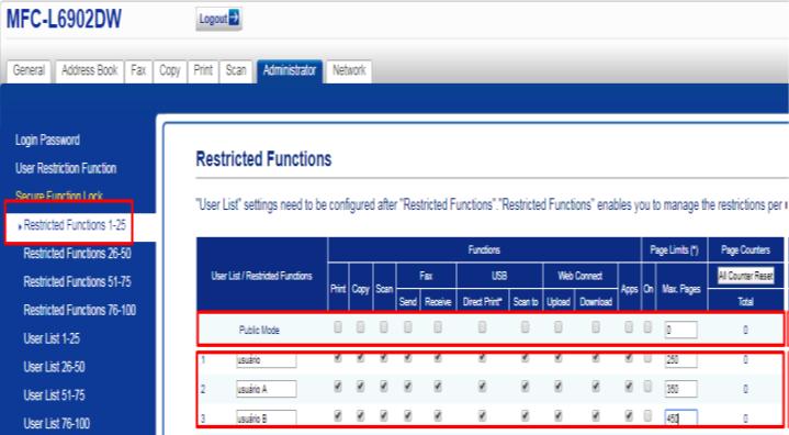 Como configurar o Secure Fuction lock 3.0 em Brother