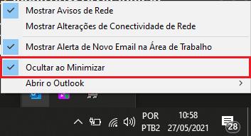 Outlook fecha ao minimizar dica