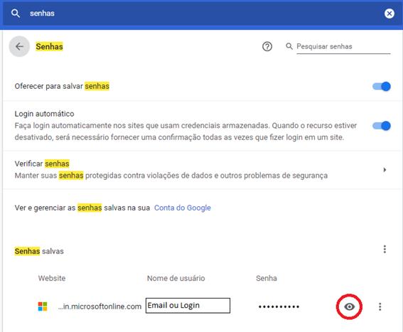 Como visualizar senha salva no Chrome