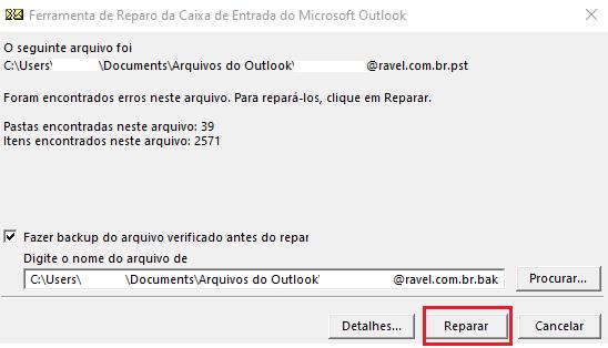 Como reparar arquivo do Outlook (PST)