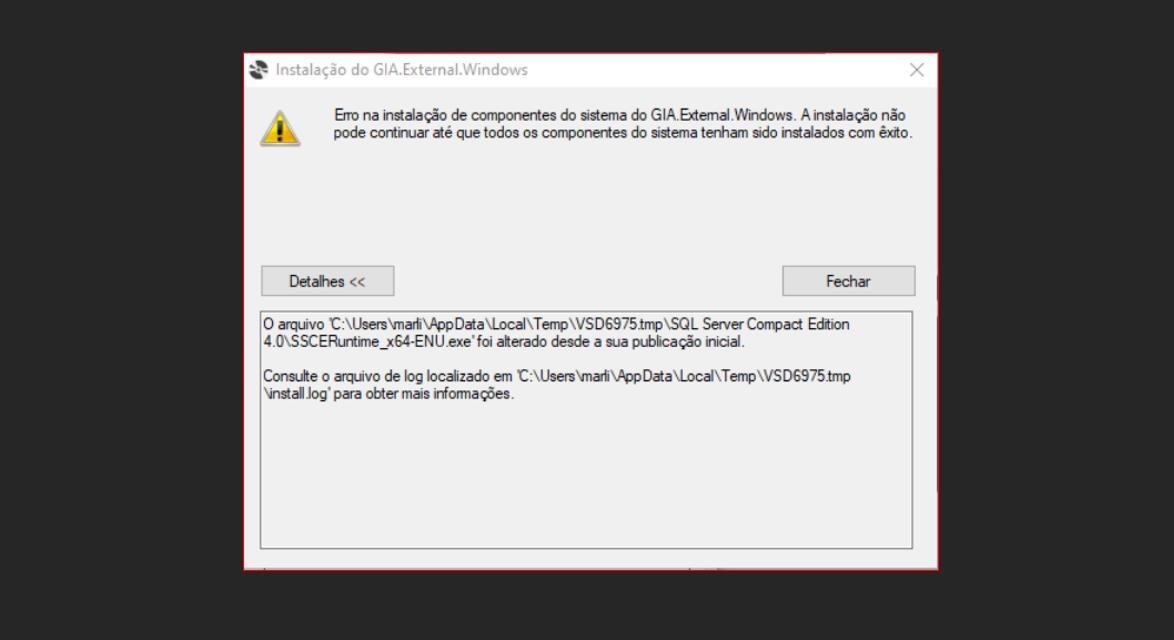 Erro na instalação de componentes do sistema do GIA.External.Windows