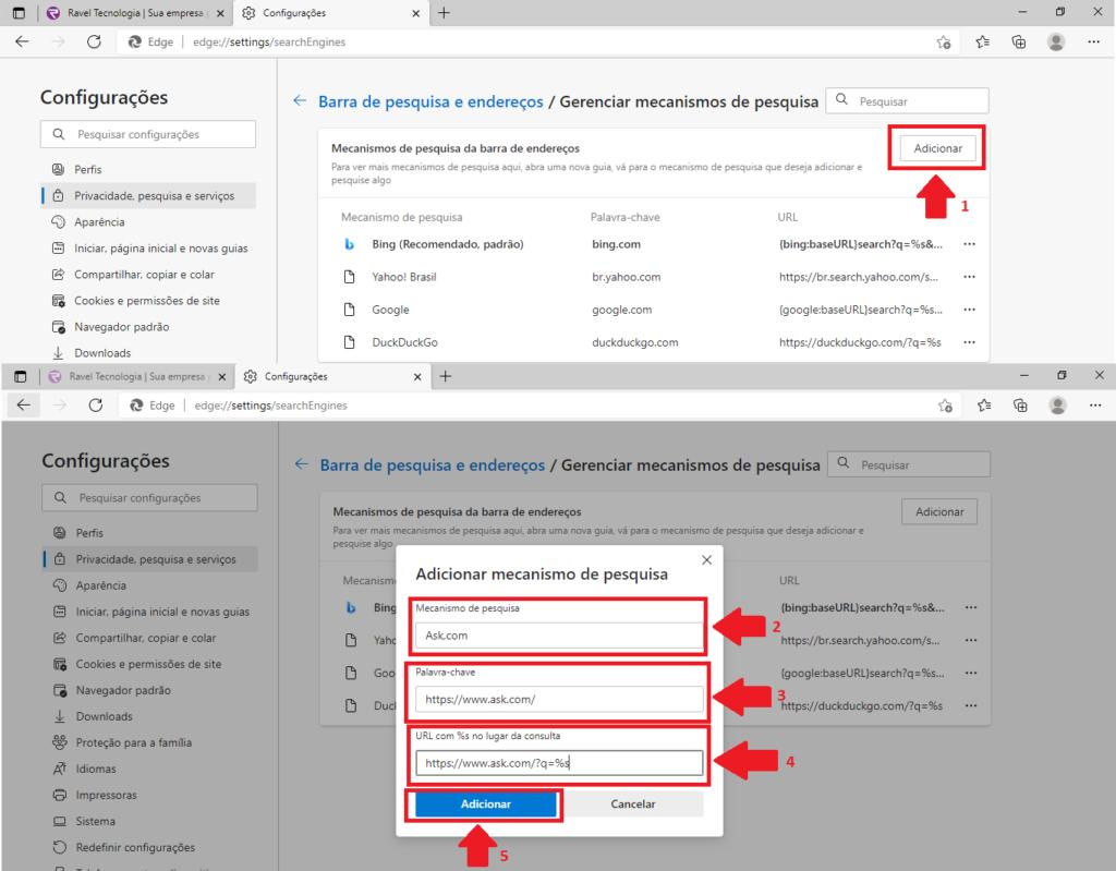 Como adicionar o buscador padrão no Edge